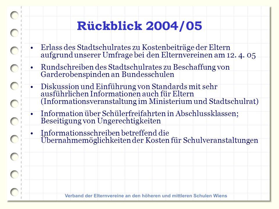 Rückblick 2004/05 Erlass des Stadtschulrates zu Kostenbeiträge der Eltern aufgrund unserer Umfrage bei den Elternvereinen am 12.