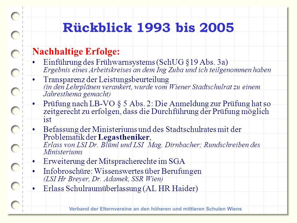 Rückblick 1993 bis 2005 Nachhaltige Erfolge: Einführung des Frühwarnsystems (SchUG §19 Abs.
