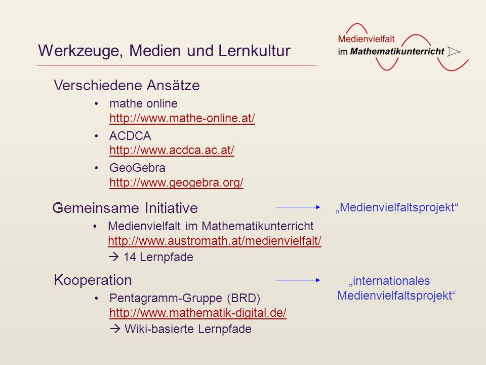 Werkzeuge, Medien und Lernkultur mathe online http://www.mathe-online.at/ http://www.mathe-online.at/ ACDCA http://www.acdca.ac.at/ http://www.acdca.a