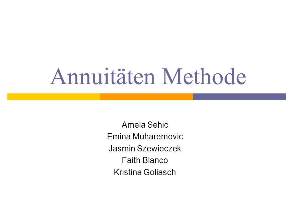 Allgemein Die Annuitätenmethode (AM) geht von den selben Voraussetzungen aus wie die Kapitalwertmethode und wird vor allem zum Vergleich von Investitionsalternativen mit unterschiedlicher Nutzungsdauer verwendet.