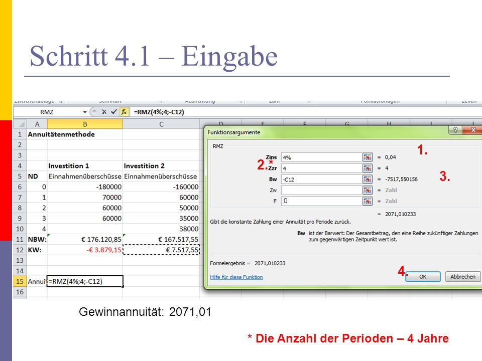 Schritt 4.1 – Eingabe 1. 2.* 3. 4. * Die Anzahl der Perioden – 4 Jahre Gewinnannuität: 2071,01 0