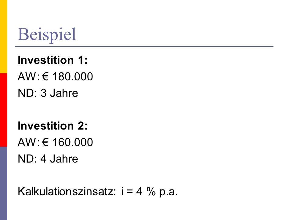 Beispiel Investition 1: AW: 180.000 ND: 3 Jahre Investition 2: AW: 160.000 ND: 4 Jahre Kalkulationszinsatz: i = 4 % p.a.