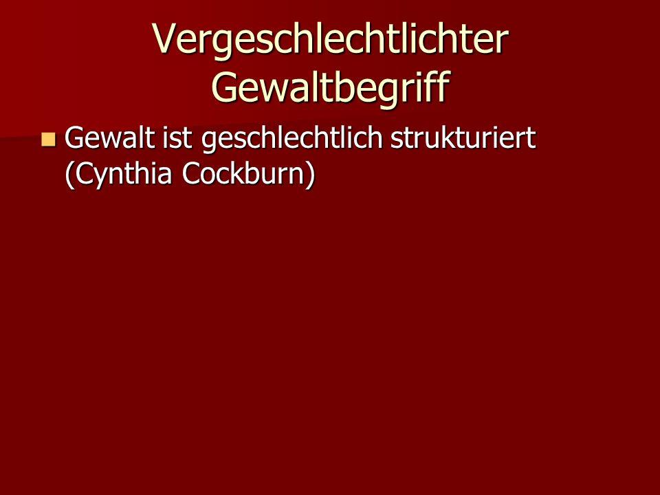 Vergeschlechtlichter Gewaltbegriff Gewalt ist geschlechtlich strukturiert (Cynthia Cockburn) Gewalt ist geschlechtlich strukturiert (Cynthia Cockburn)