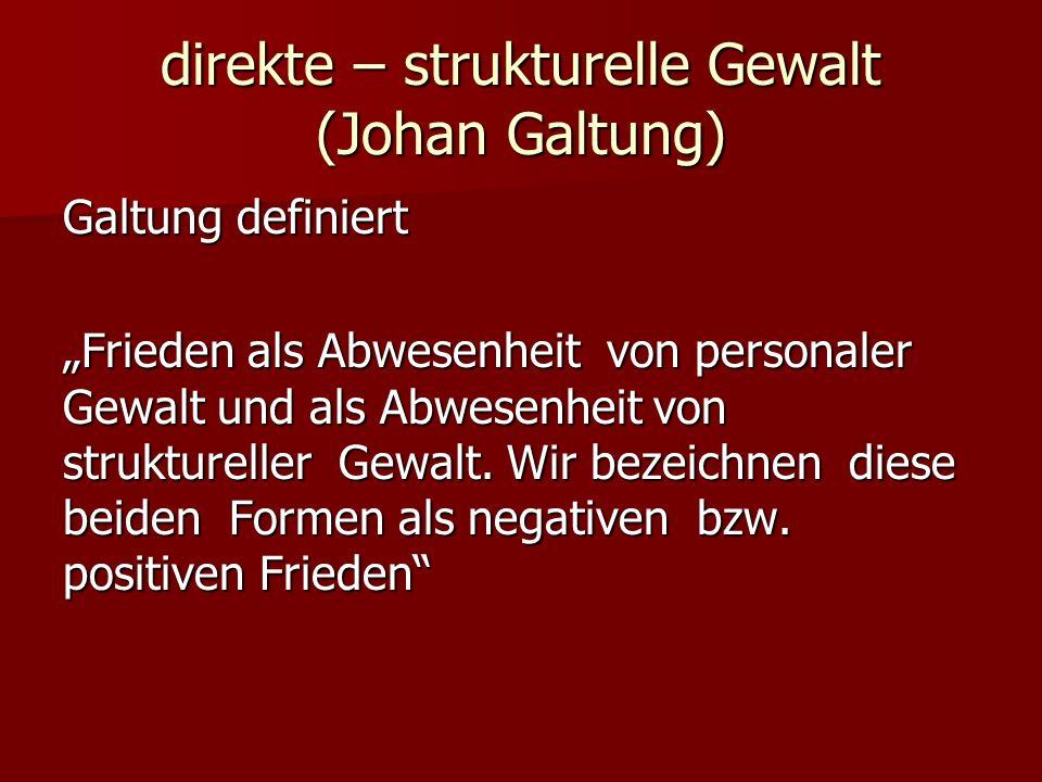 direkte – strukturelle Gewalt (Johan Galtung) Galtung definiert Frieden als Abwesenheit von personaler Gewalt und als Abwesenheit von struktureller Ge