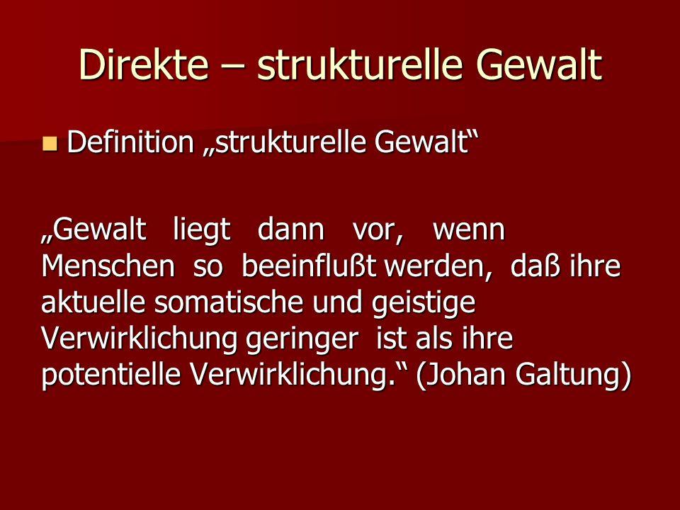 Direkte – strukturelle Gewalt Definition strukturelle Gewalt Definition strukturelle Gewalt Gewalt liegt dann vor, wenn Menschen so beeinflußt werden,