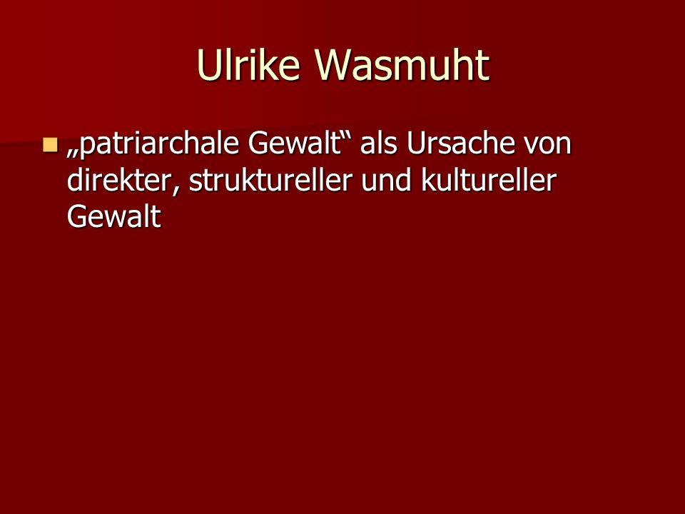 Ulrike Wasmuht patriarchale Gewalt als Ursache von direkter, struktureller und kultureller Gewalt patriarchale Gewalt als Ursache von direkter, strukt