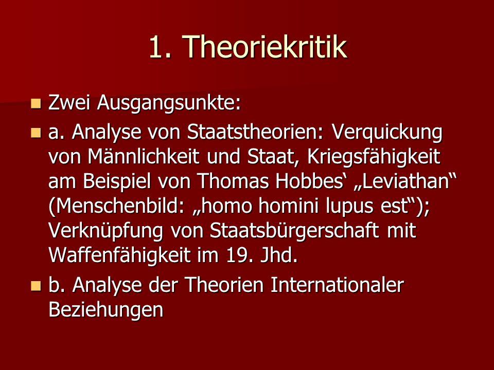 1. Theoriekritik Zwei Ausgangsunkte: Zwei Ausgangsunkte: a. Analyse von Staatstheorien: Verquickung von Männlichkeit und Staat, Kriegsfähigkeit am Bei