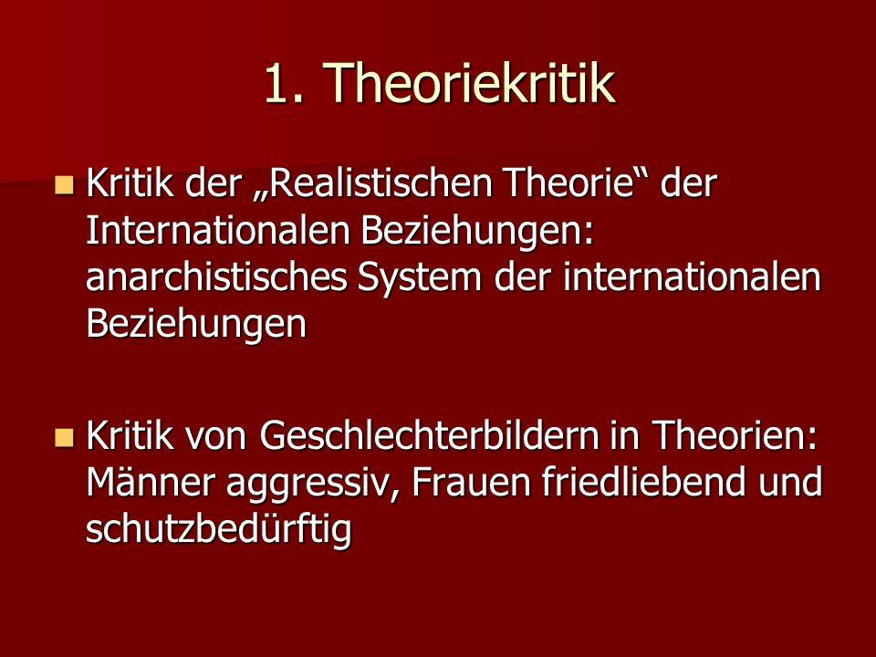 1. Theoriekritik Kritik der Realistischen Theorie der Internationalen Beziehungen: anarchistisches System der internationalen Beziehungen Kritik der R