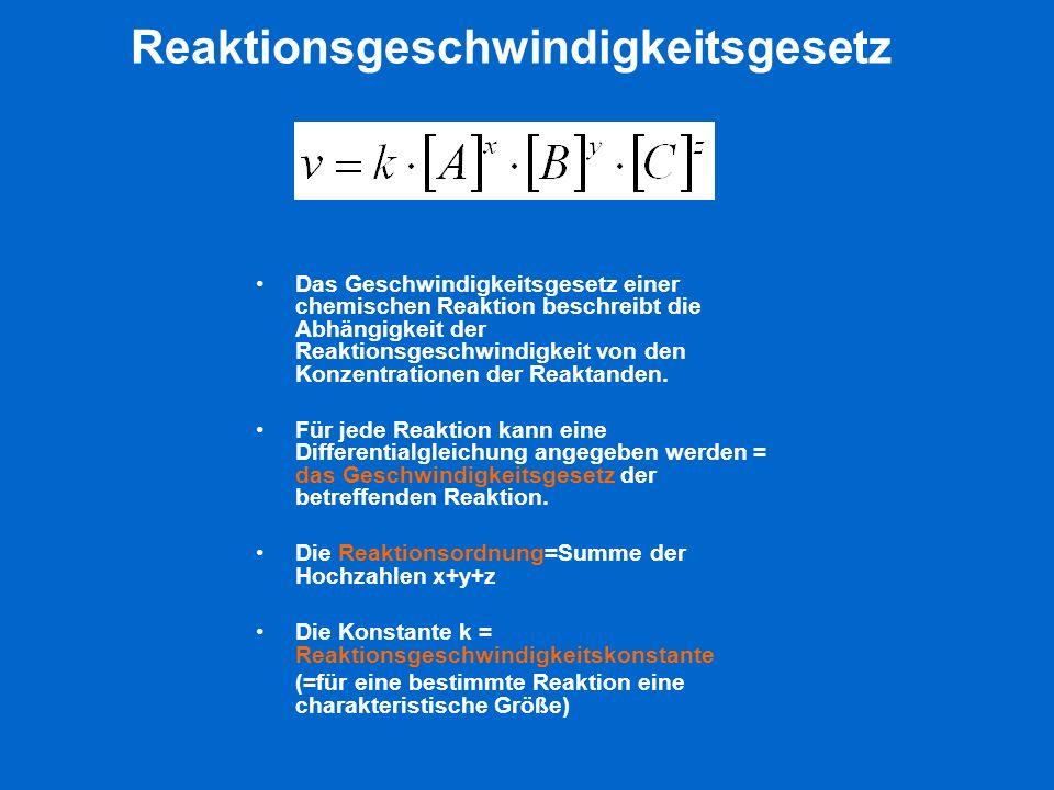 Reaktionsgeschwindigkeitsgesetz Das Geschwindigkeitsgesetz einer chemischen Reaktion beschreibt die Abhängigkeit der Reaktionsgeschwindigkeit von den