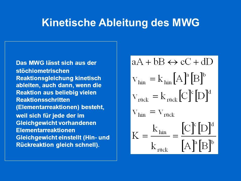 Kinetische Ableitung des MWG Das MWG lässt sich aus der stöchiometrischen Reaktionsgleichung kinetisch ableiten, auch dann, wenn die Reaktion aus beli