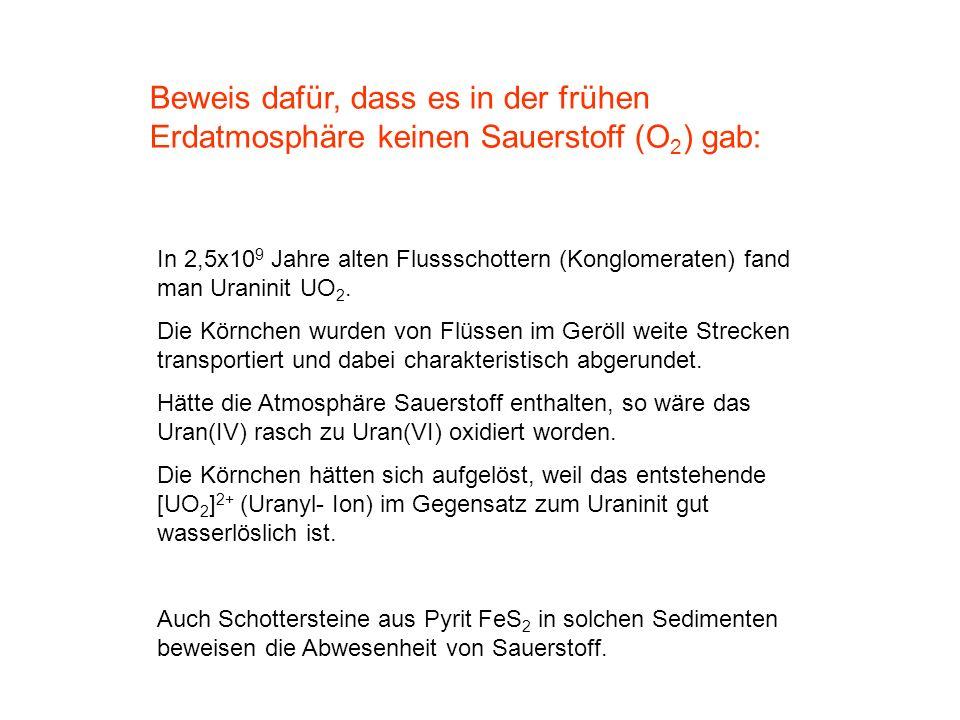 Beweis dafür, dass es in der frühen Erdatmosphäre keinen Sauerstoff (O 2 ) gab: In 2,5x10 9 Jahre alten Flussschottern (Konglomeraten) fand man Uranin