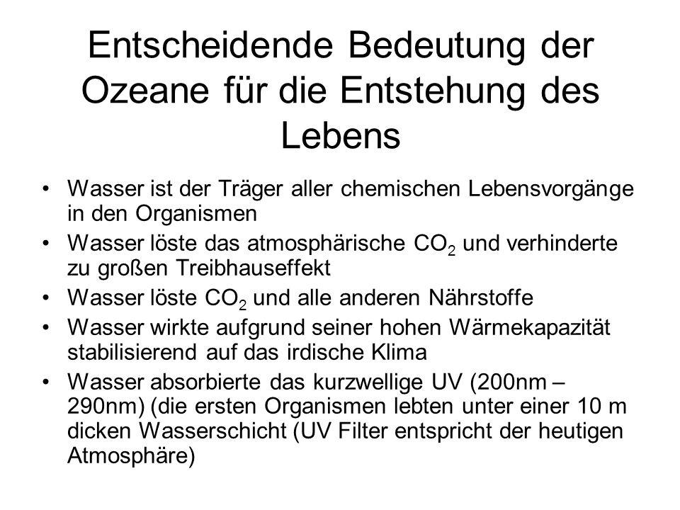 Entscheidende Bedeutung der Ozeane für die Entstehung des Lebens Wasser ist der Träger aller chemischen Lebensvorgänge in den Organismen Wasser löste