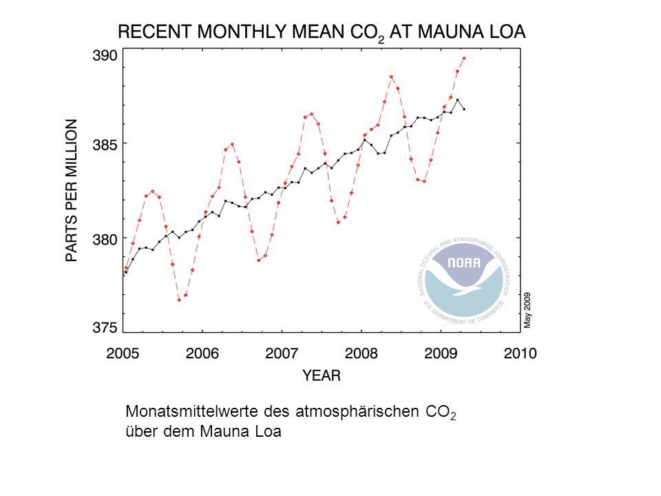 The graph shows recent Monatsmittelwerte des atmosphärischen CO 2 über dem Mauna Loa
