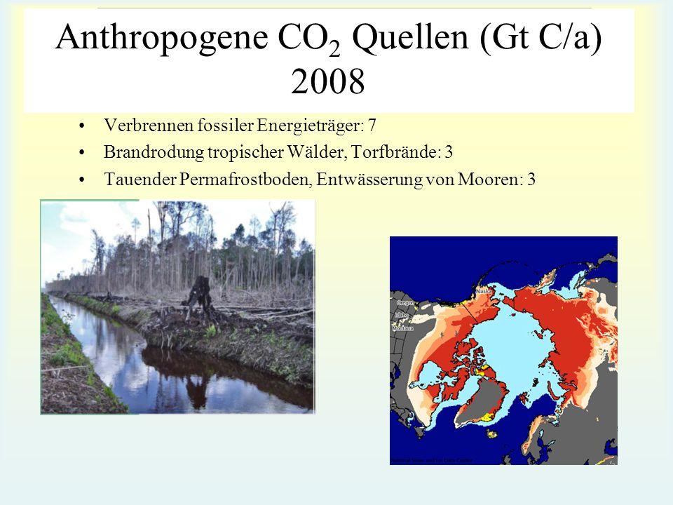 INSTITUT FÜR ANORGANISCHE CHEMIE Arbeitsgruppe Umwelt- und Radiochemie Anthropogene CO 2 Quellen (Gt C/a) 2008 Verbrennen fossiler Energieträger: 7 Br