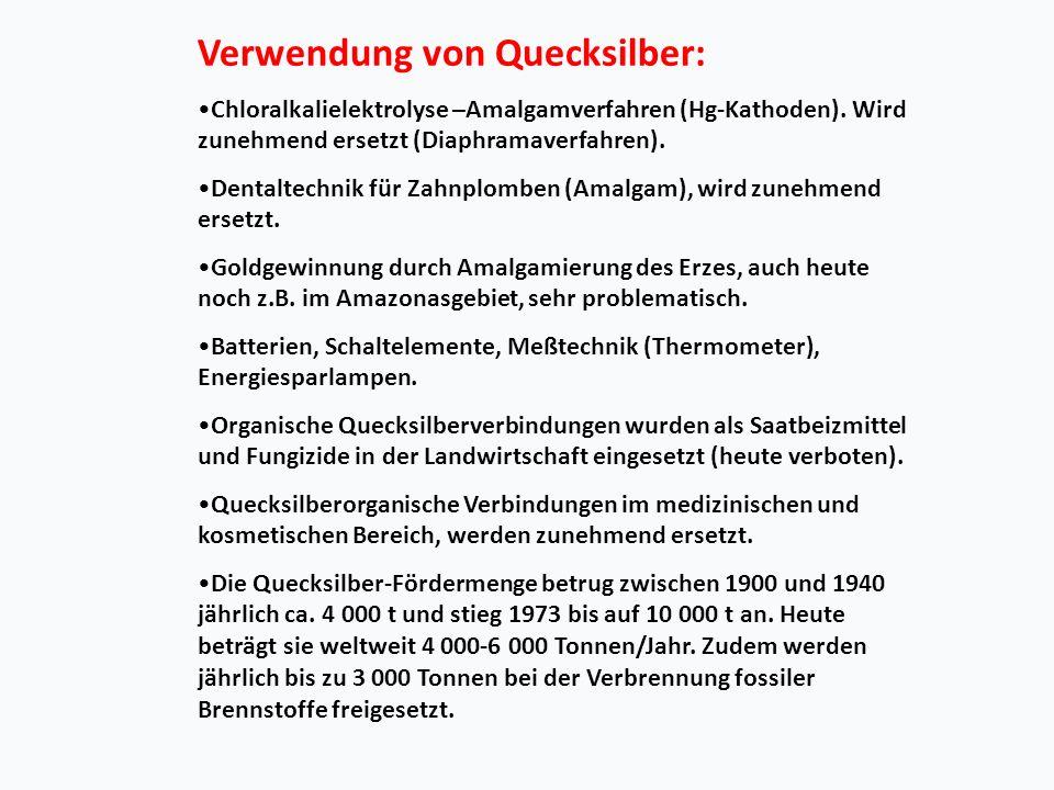Verwendung von Quecksilber: Chloralkalielektrolyse –Amalgamverfahren (Hg-Kathoden).