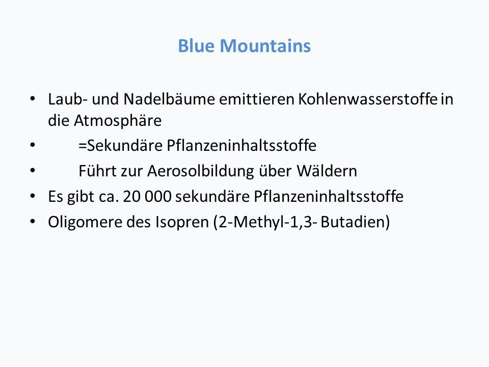 Blue Mountains Laub- und Nadelbäume emittieren Kohlenwasserstoffe in die Atmosphäre =Sekundäre Pflanzeninhaltsstoffe Führt zur Aerosolbildung über Wäldern Es gibt ca.