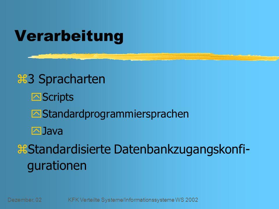 Dezember, 02KFK Verteilte Systeme/Informationssysteme WS 2002 Verarbeitung z3 Spracharten yScripts yStandardprogrammiersprachen yJava zStandardisierte Datenbankzugangskonfi- gurationen