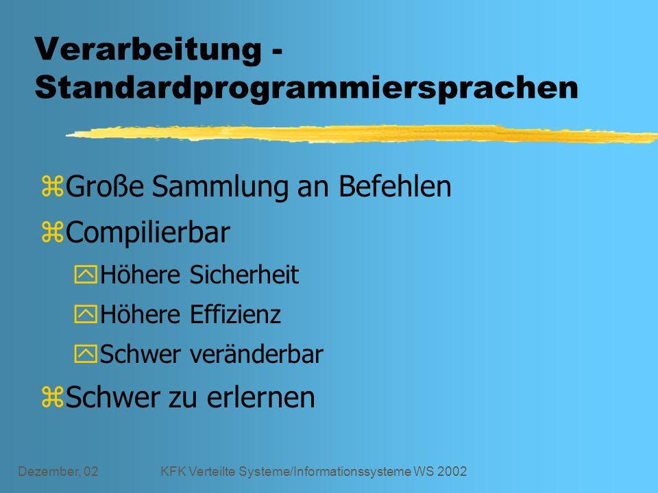 Dezember, 02KFK Verteilte Systeme/Informationssysteme WS 2002 Verarbeitung - Standardprogrammiersprachen zGroße Sammlung an Befehlen zCompilierbar yHöhere Sicherheit yHöhere Effizienz ySchwer veränderbar zSchwer zu erlernen
