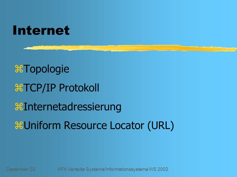 Dezember, 02KFK Verteilte Systeme/Informationssysteme WS 2002 Internet zTopologie zTCP/IP Protokoll zInternetadressierung zUniform Resource Locator (URL)