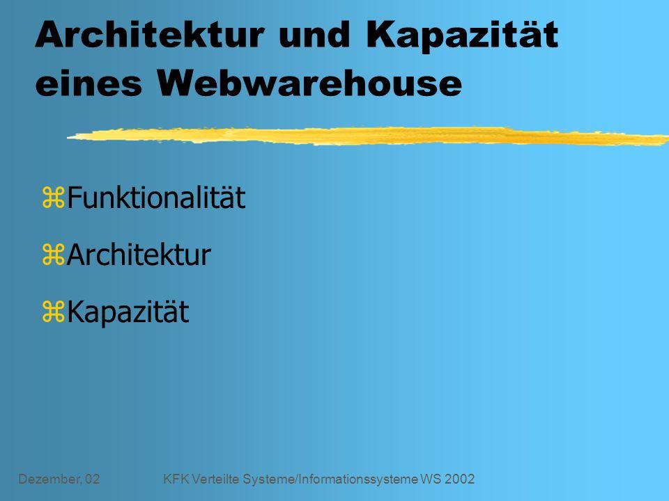 Dezember, 02KFK Verteilte Systeme/Informationssysteme WS 2002 Architektur und Kapazität eines Webwarehouse zFunktionalität zArchitektur zKapazität