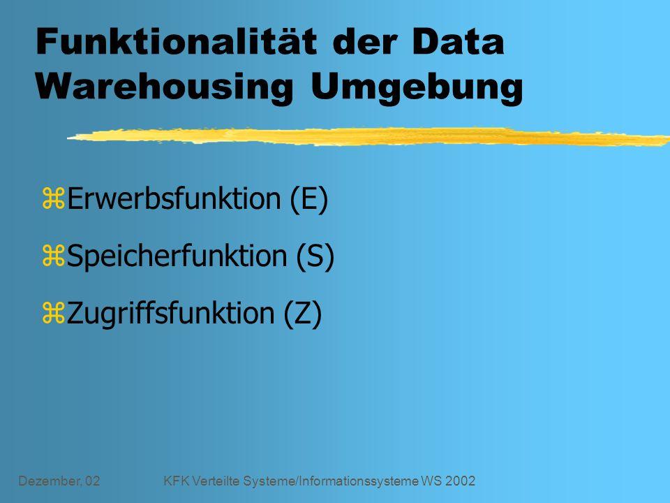 Dezember, 02KFK Verteilte Systeme/Informationssysteme WS 2002 Funktionalität der Data Warehousing Umgebung zErwerbsfunktion (E) zSpeicherfunktion (S) zZugriffsfunktion (Z)