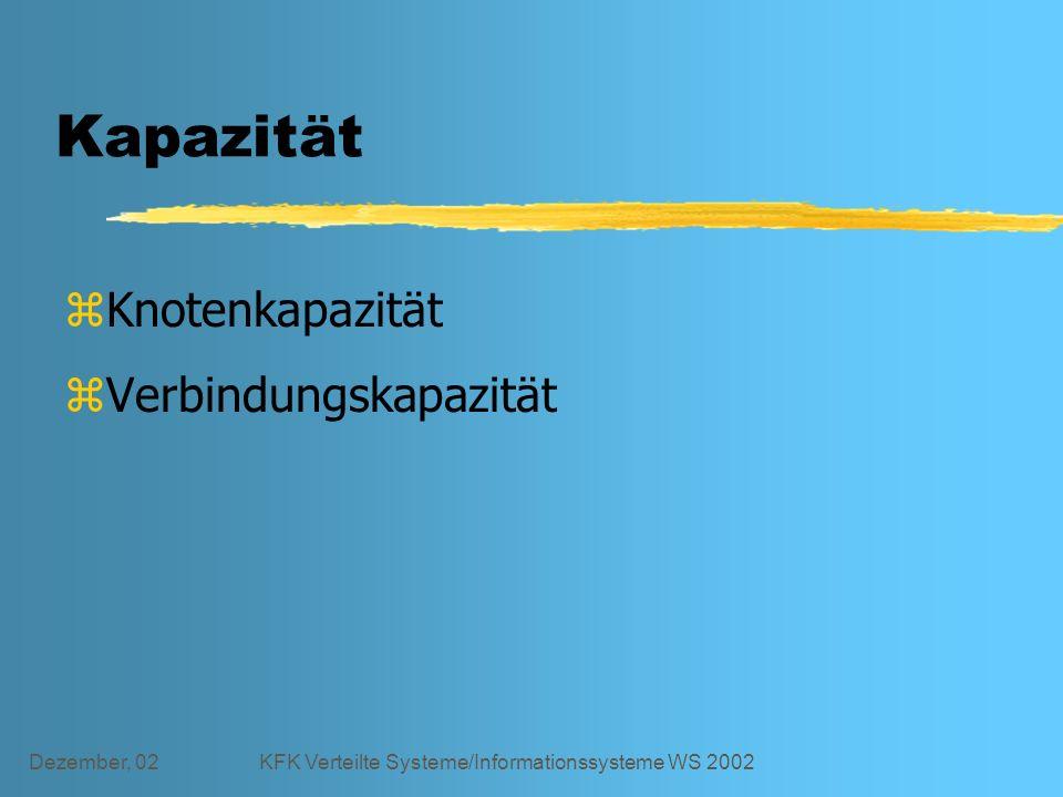 Dezember, 02KFK Verteilte Systeme/Informationssysteme WS 2002 Kapazität zKnotenkapazität zVerbindungskapazität