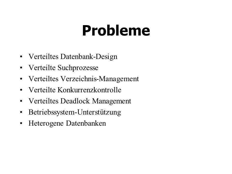 Probleme Verteiltes Datenbank-Design Verteilte Suchprozesse Verteiltes Verzeichnis-Management Verteilte Konkurrenzkontrolle Verteiltes Deadlock Management Betriebssystem-Unterstützung Heterogene Datenbanken