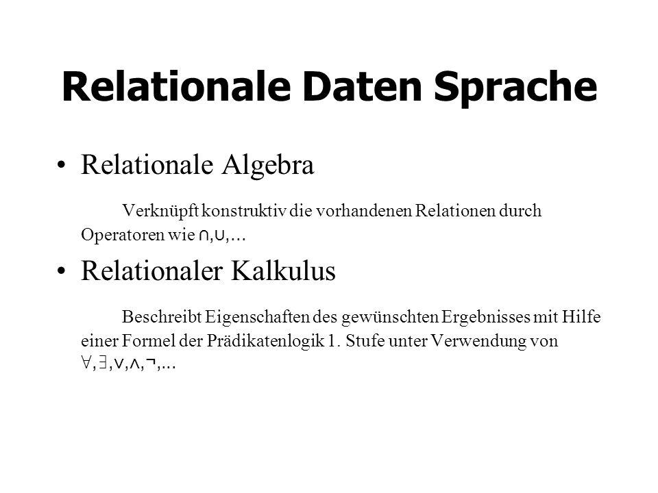 Relationale Daten Sprache Relationale Algebra Verknüpft konstruktiv die vorhandenen Relationen durch Operatoren wie,,...