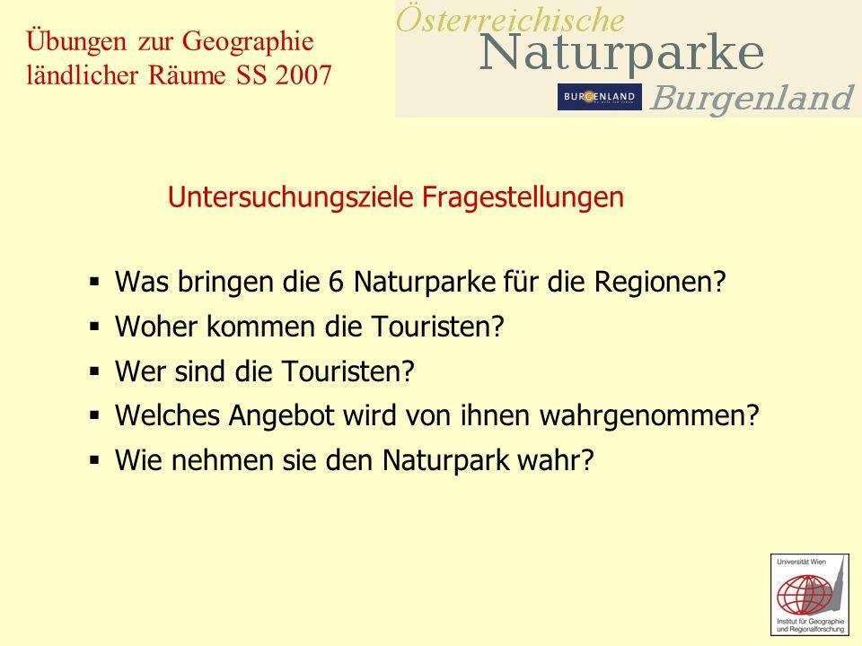 Übungen zur Geographie ländlicher Räume SS 2007 Untersuchungsziele Fragestellungen Was bringen die 6 Naturparke für die Regionen? Woher kommen die Tou