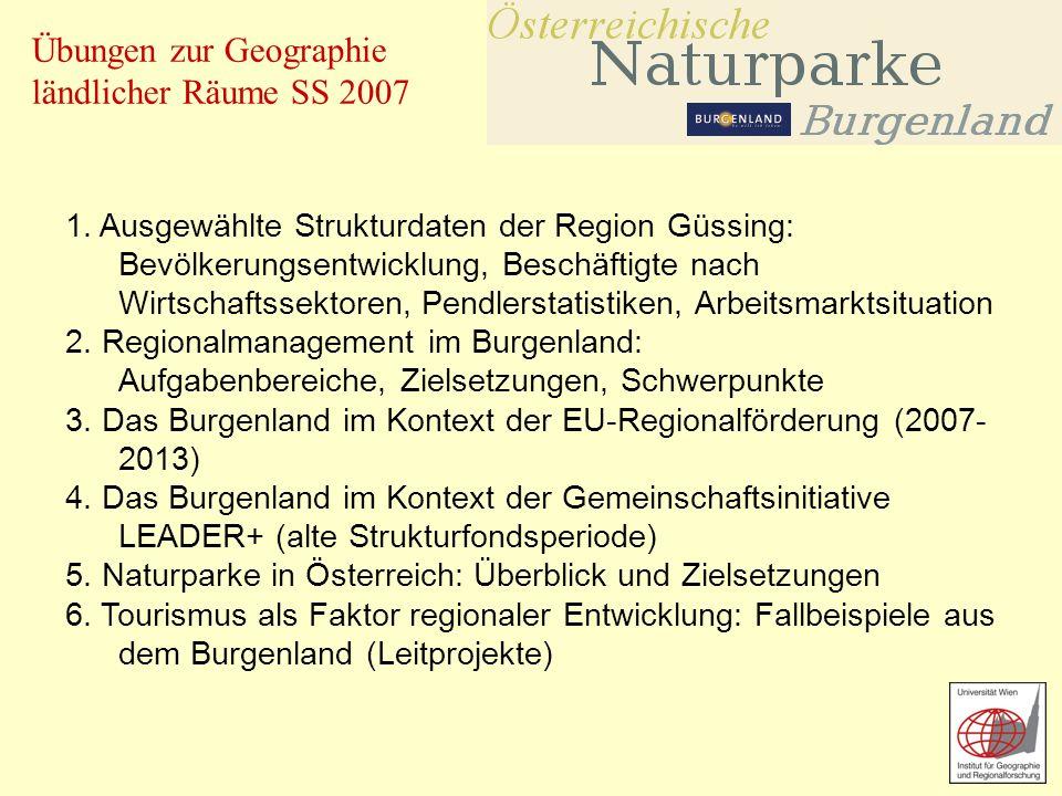 Übungen zur Geographie ländlicher Räume SS 2007 1. Ausgewählte Strukturdaten der Region Güssing: Bevölkerungsentwicklung, Beschäftigte nach Wirtschaft