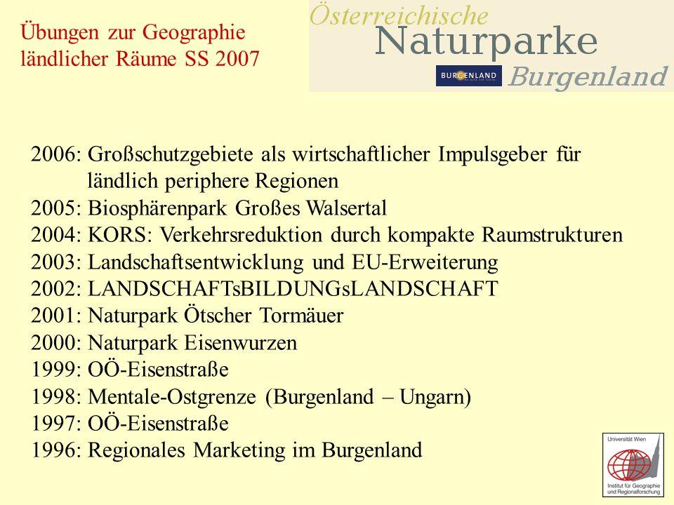 Übungen zur Geographie ländlicher Räume SS 2007 2006: Großschutzgebiete als wirtschaftlicher Impulsgeber für ländlich periphere Regionen 2005: Biosphä