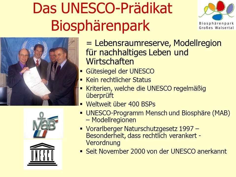 Das UNESCO-Prädikat Biosphärenpark = Lebensraumreserve, Modellregion für nachhaltiges Leben und Wirtschaften Gütesiegel der UNESCO Kein rechtlicher St