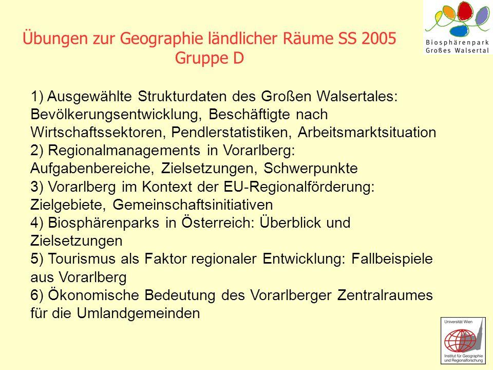 Übungen zur Geographie ländlicher Räume SS 2005 Gruppe D 1) Ausgewählte Strukturdaten des Großen Walsertales: Bevölkerungsentwicklung, Beschäftigte na