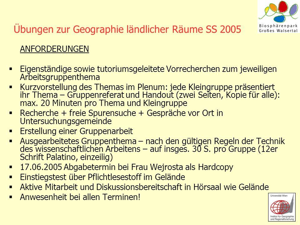 Übungen zur Geographie ländlicher Räume SS 2005 ANFORDERUNGEN Eigenständige sowie tutoriumsgeleitete Vorrecherchen zum jeweiligen Arbeitsgruppenthema