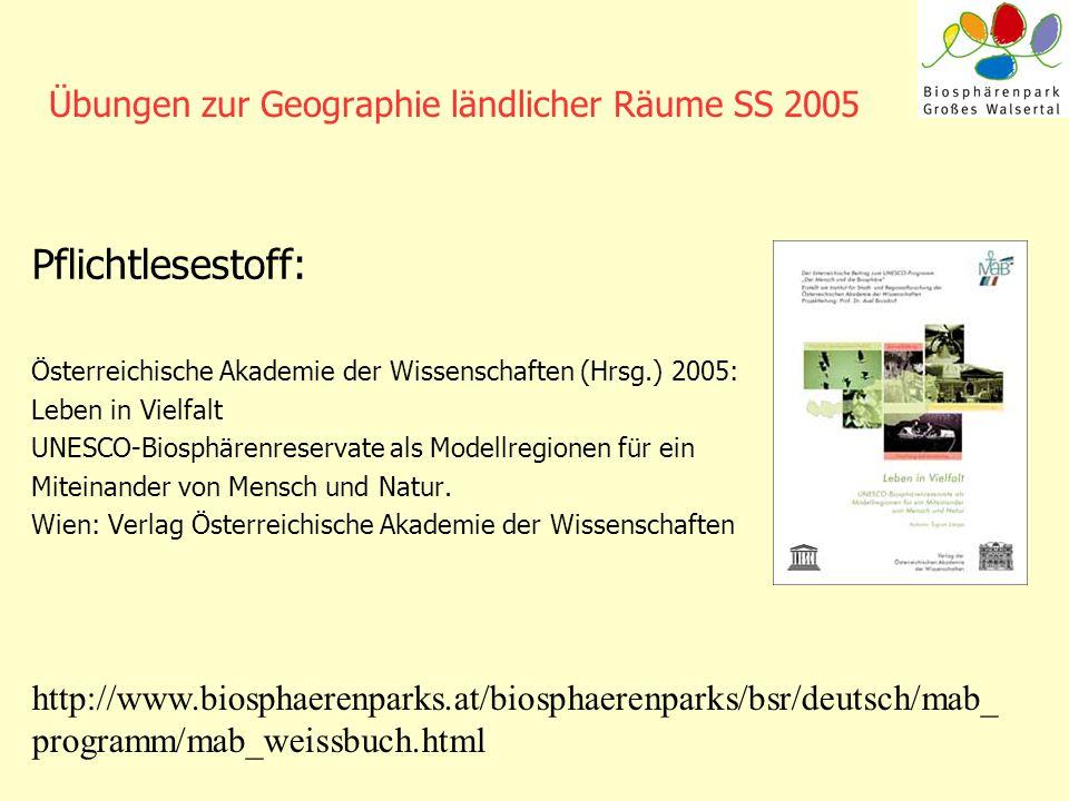 Übungen zur Geographie ländlicher Räume SS 2005 Pflichtlesestoff: Österreichische Akademie der Wissenschaften (Hrsg.) 2005: Leben in Vielfalt UNESCO-B