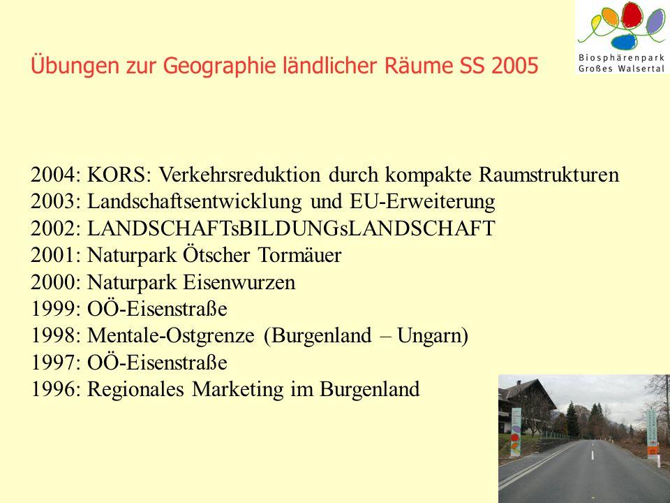 Übungen zur Geographie ländlicher Räume SS 2005 2004: KORS: Verkehrsreduktion durch kompakte Raumstrukturen 2003: Landschaftsentwicklung und EU-Erweit