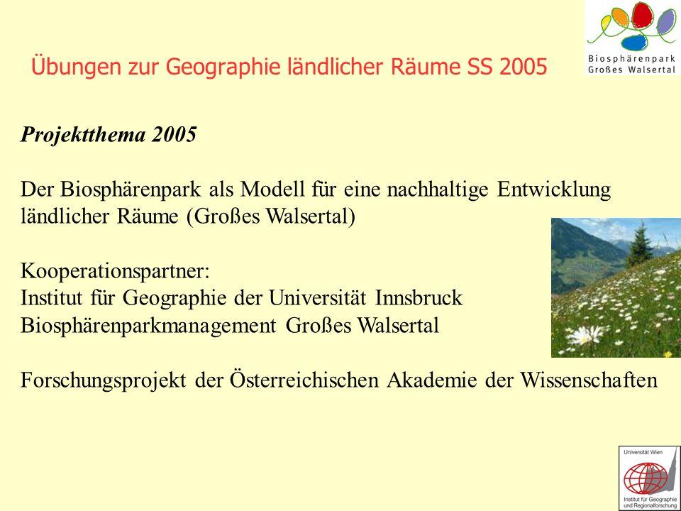 Übungen zur Geographie ländlicher Räume SS 2005 Projektthema 2005 Der Biosphärenpark als Modell für eine nachhaltige Entwicklung ländlicher Räume (Gro
