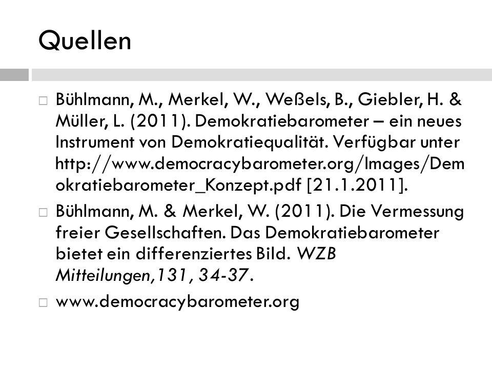 Quellen Bühlmann, M., Merkel, W., Weßels, B., Giebler, H. & Müller, L. (2011). Demokratiebarometer – ein neues Instrument von Demokratiequalität. Verf