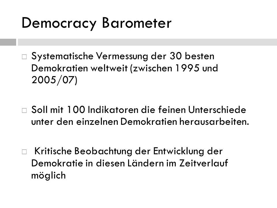 Democracy Barometer Systematische Vermessung der 30 besten Demokratien weltweit (zwischen 1995 und 2005/07) Soll mit 100 Indikatoren die feinen Unters
