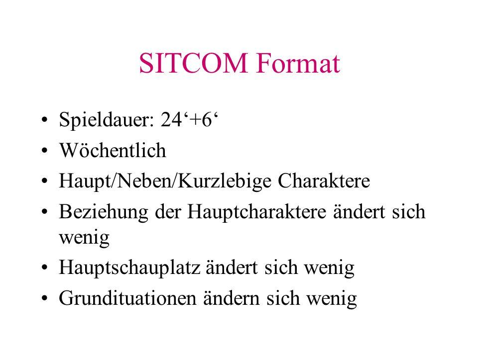 SITCOM Format Spieldauer: 24+6 Wöchentlich Haupt/Neben/Kurzlebige Charaktere Beziehung der Hauptcharaktere ändert sich wenig Hauptschauplatz ändert sich wenig Grundituationen ändern sich wenig