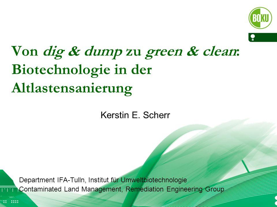 Von dig & dump zu green & clean: Biotechnologie in der Altlastensanierung Kerstin E. Scherr Department IFA-Tulln, Institut für Umweltbiotechnologie Co