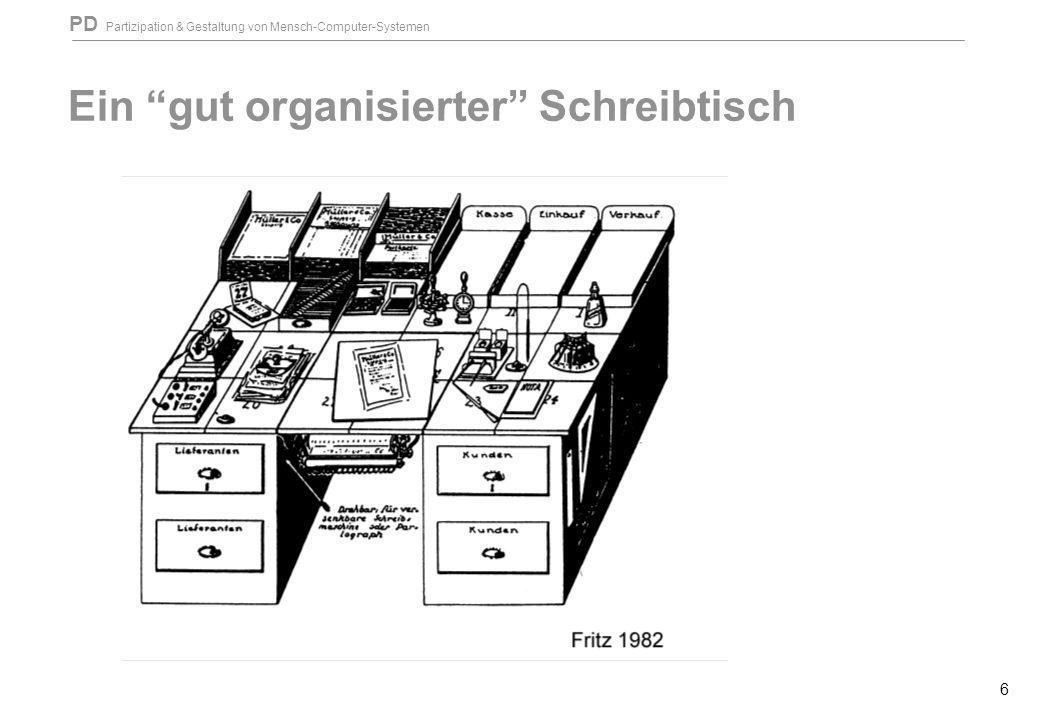 PD Partizipation & Gestaltung von Mensch-Computer-Systemen 6 Ein gut organisierter Schreibtisch
