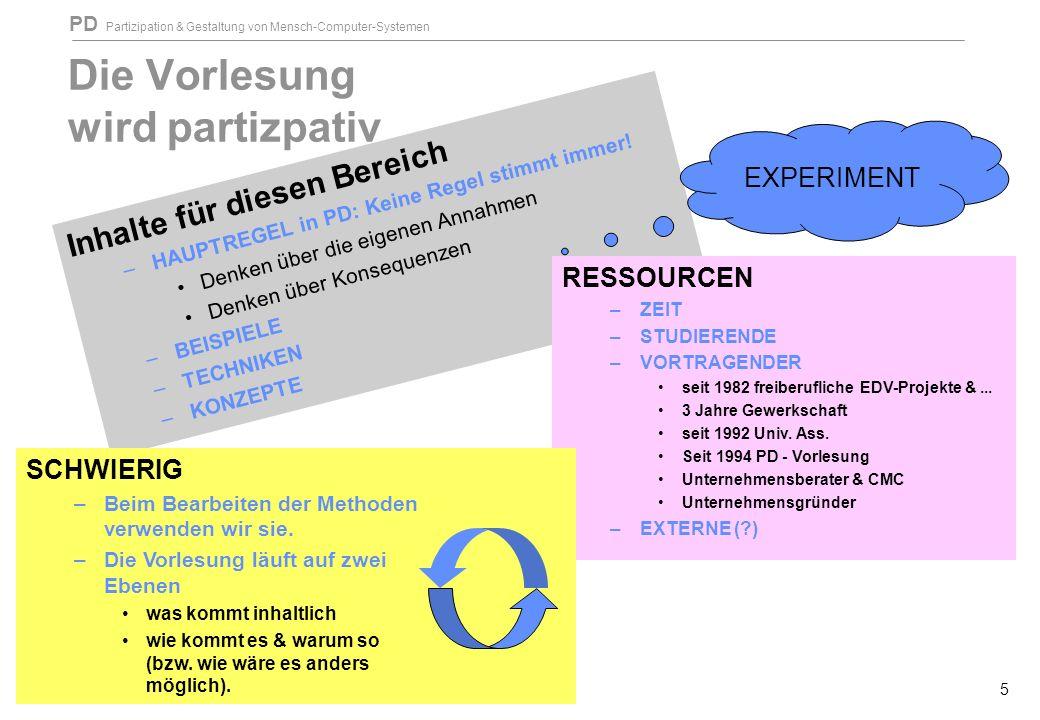 PD Partizipation & Gestaltung von Mensch-Computer-Systemen 5 Die Vorlesung wird partizpativ Inhalte für diesen Bereich –HAUPTREGEL in PD: Keine Regel stimmt immer.
