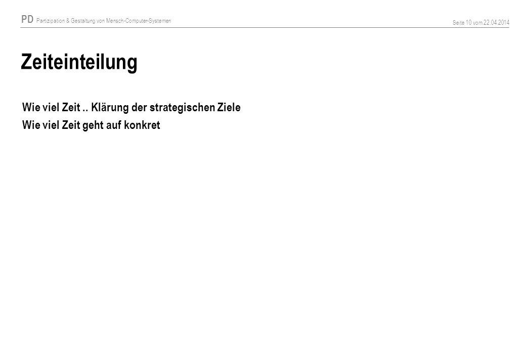 PD Partizipation & Gestaltung von Mensch-Computer-Systemen Seite 10 vom 22.04.2014 Zeiteinteilung Wie viel Zeit.. Klärung der strategischen Ziele Wie