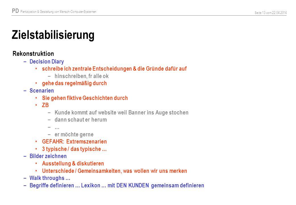 PD Partizipation & Gestaltung von Mensch-Computer-Systemen Seite 13 vom 22.04.2014 Zielstabilisierung Rekonstruktion – Decision Diary schreibe ich zen