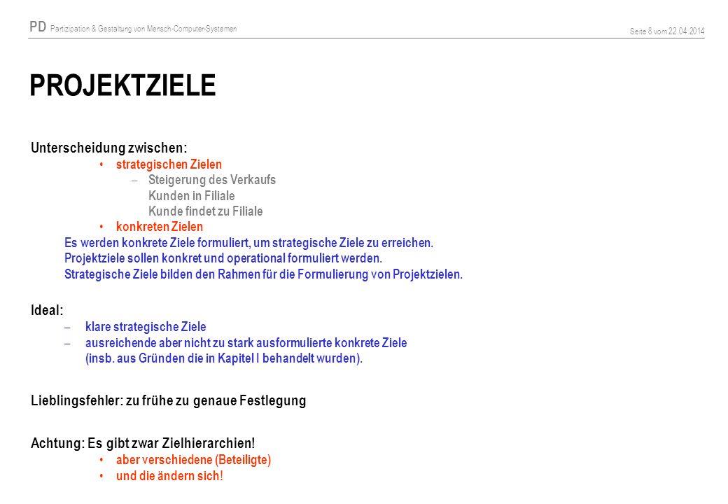 PD Partizipation & Gestaltung von Mensch-Computer-Systemen Seite 8 vom 22.04.2014 PROJEKTZIELE Unterscheidung zwischen: strategischen Zielen – Steiger