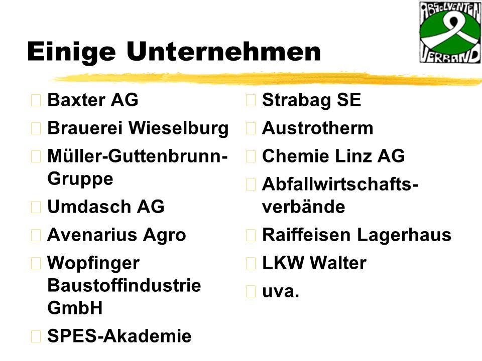 Einige Unternehmen Baxter AG Brauerei Wieselburg Müller-Guttenbrunn- Gruppe Umdasch AG Avenarius Agro Wopfinger Baustoffindustrie GmbH SPES-Akademie Strabag SE Austrotherm Chemie Linz AG Abfallwirtschafts- verbände Raiffeisen Lagerhaus LKW Walter uva.