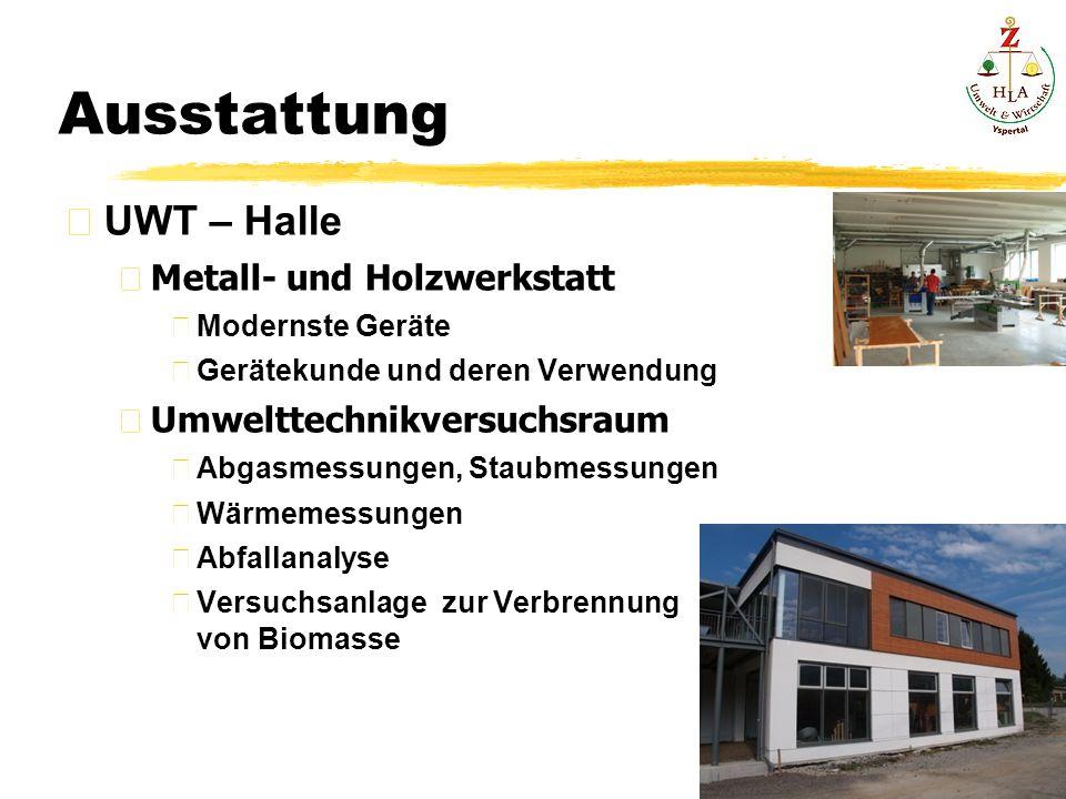 Ausstattung UWT – Halle Metall- und Holzwerkstatt Modernste Geräte Gerätekunde und deren Verwendung Umwelttechnikversuchsraum Abgasmessungen, Staubmessungen Wärmemessungen Abfallanalyse Versuchsanlage zur Verbrennung von Biomasse