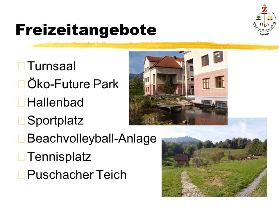 Freizeitangebote Turnsaal Öko-Future Park Hallenbad Sportplatz Beachvolleyball-Anlage Tennisplatz Puschacher Teich