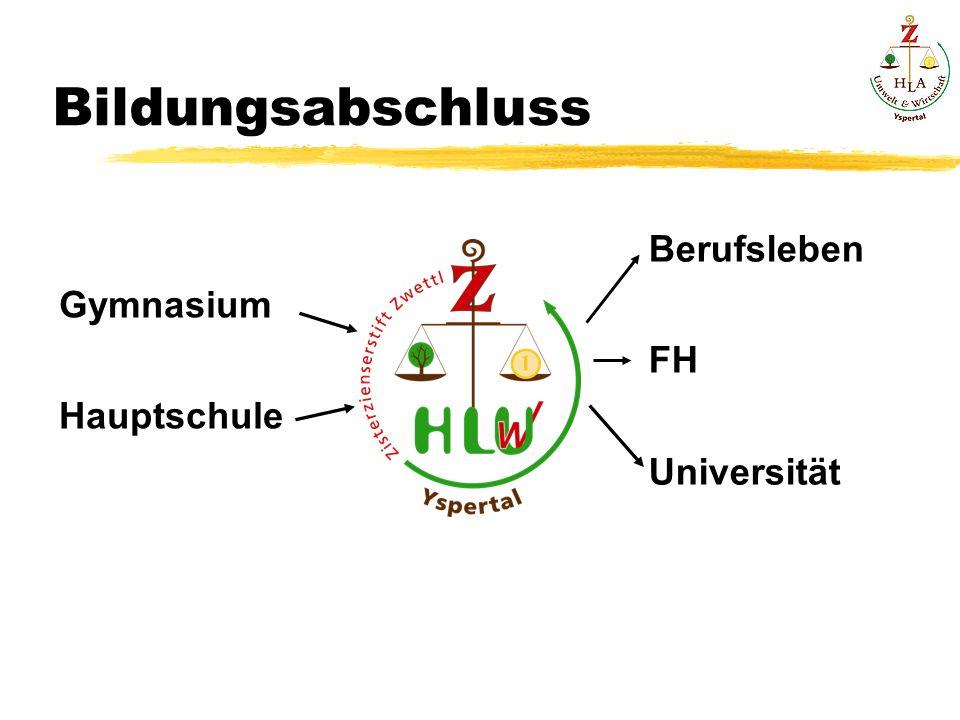Bildungsabschluss Gymnasium Hauptschule Berufsleben FH Universität